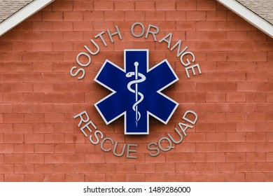 SOUTH ORANGE, NJ/USA - AUGUST 23, 2019: South Orange Rescue Squad sign logo on the front of the rescue squad building