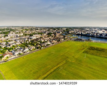 South park, Aerial view, sunny warm day, cloudy sky, Galway city, Claddagh, Ireland.