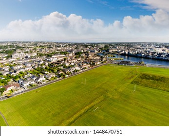 South park, Aerial view, Tilt shift effect, sunny warm day, cloudy sky, Galway city, Claddagh, Ireland.
