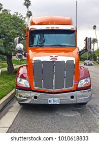 SOUTH PASADENA/CALIFORNIA - JAN. 15, 2108: Peterbilt truck parked along the road in South Pasadena, California USA