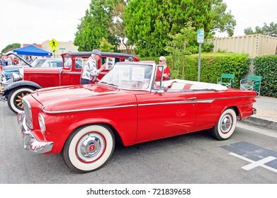 SOUTH PASADENA/CALIFORNIA - SEPT. 17, 2017: Classic 1962 Studebaker Lark convertible parked along the road at a gathering of classic car enthusiasts. South Pasadena, California USA