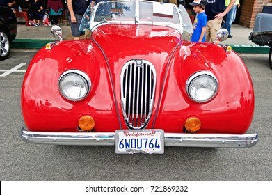 SOUTH PASADENA/CALIFORNIA - SEPT. 17, 2017: Classic Jaguar roadster parked along the road at a gathering of classic car enthusiasts. South Pasadena, California USA