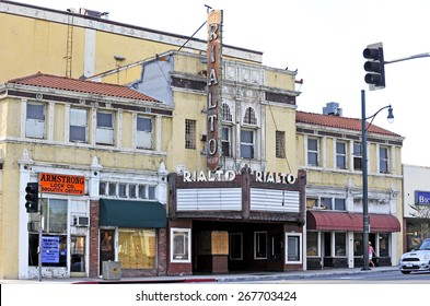 SOUTH PASADENA/CALIFORNIA-MARCH 15, 2015: Rialto Theater on the National Register of Historic Places is one of the last single-screen theaters in Southern California, South Pasadena, California USA