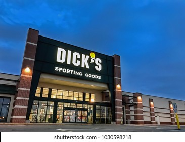 South Plainfield, NJ, 02/17/2018: The entrance to a Dick's Sporting Goods store.