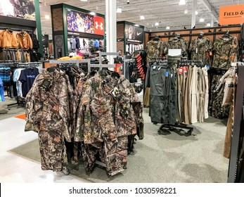 South Plainfield, NJ, 02/17/2018: Hunting apparel on the floor of a Dick's Sporting Goods store.