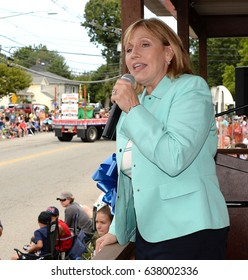 SOUTH PLAINFIELD,NJ-AUGUST 9,2016 :Kim Guadagno the first Lieutenant Governor of New Jersey talks to parade-goers during the South Plainfield Labor Day Parade held in South Plainfield,New Jersey.