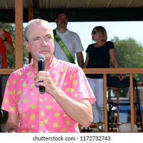 SOUTH PLAINFIELD,NJ/US - SEPTEMBER 3,2018: New Jersey Governor Phil Murphy talks to parade-goers during the  61st Annual Labor Day Parade in South Plainfield,NJ/US.