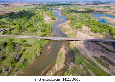 South Platte River in Nebraska at Brule, aerial view