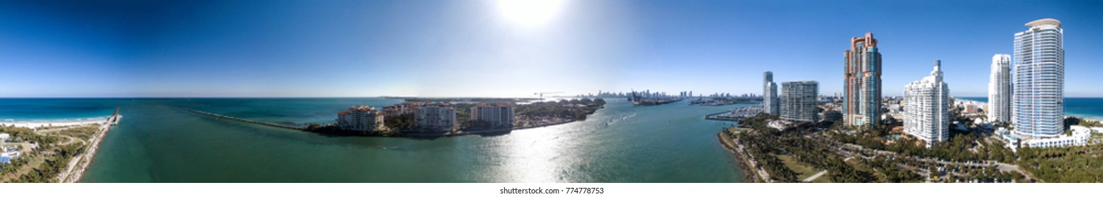 South Pointe Park in Miami. Panoramic aerial view of city skyline at dusk.