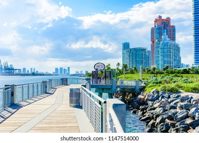 South Pointe Park and Pier at South Beach of Miami Beach. Paradise and tropical coast of Florida. USA.