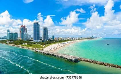 South Pointe Park and Pier at South Beach, Miami Beach. Aerial view. Paradise and tropical coast of Florida, USA.