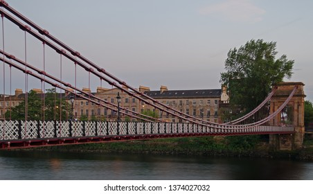 South Portland Street Suspension Bridge crossing the River Clyde in Glasgow, Scotland