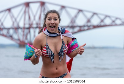 South Queensferry, Edinburgh, UK, 01/01/16 - Participant At The Annual Loony Dook