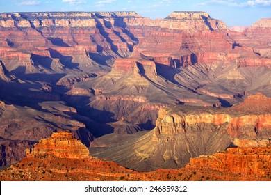 South Rim Grand Canyon before sunset, Arizona, US