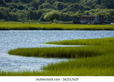 The south river in Marshfield Massachusetts surrounded by salt marsh grass with trees and houses in background.