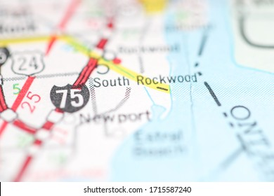 South Rockwood. Michigan. USA on a geography map.