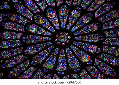 South rosette stained glass window in the Cathedral of Notre Dame in Paris, created in 1260. This window is one of the most famous in the world.