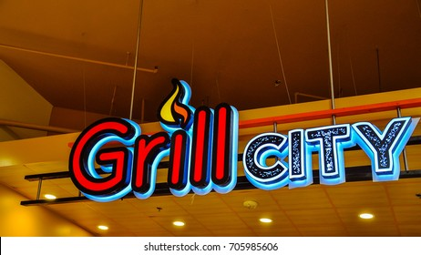 South San Francisco, CA - Aug. 20, 2017: Grill CIty in SSF serves Filipino-style barbecue. It is one of several Grill City locations in midwest and western US.