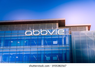 South San Francisco, CA, USA - February 24, 2021: Closeup of AbbVie building corporate office, an American biopharmaceutical company with its headquarters in Lake Bluff, Illinois, USA