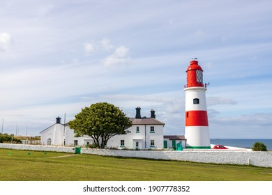 South Shields UK: 29th July 2020:  Souter Lighthouse and The Leas on a lovely summer day