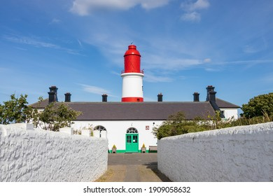 South Shields UK: 29th July 2020:  Souter Lighthouse and The Leas driveway path