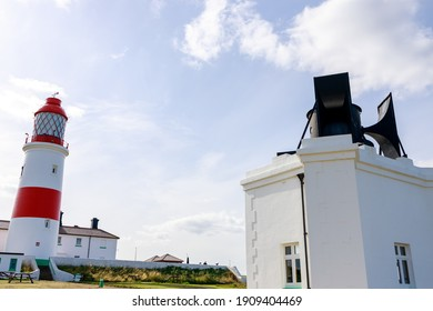 South Shields UK: 29th July 2020:  Souter Lighthouse and foghorn on a lovely summer day