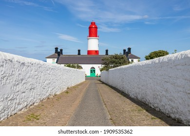South Shields UK: 29th July 2020:  Souter Lighthouse and The Leas driveway-path