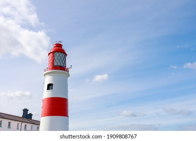 South Shields UK: 29th July 2020:  Souter Lighthouse and The Leas on a lovely summer day (red and white lighthouse)