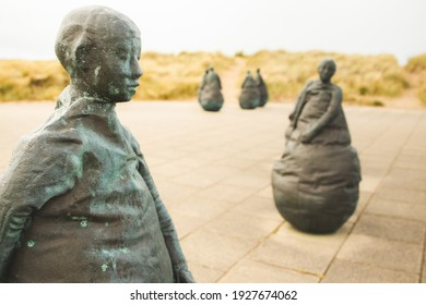 South Shields UK: 3rd June 2020 -Conversation Piece aka The Weebles weird and wonderful statues by Juan Munoz