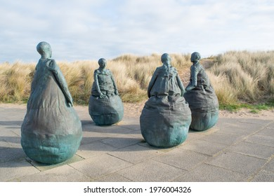 South Shields, UK - March 30, 2021: The Weebles sculptures and statues near Little haven Beach in South Shields.
