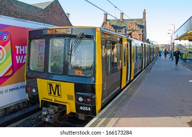 SOUTH SHIELDS, UK - OCT 29: A Tyne and Wear Metro train at South Shields Station on October 29, 2013.  This is the second largest Metro system in the UK after London.