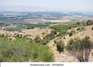 South shore of Lake Kinneret, the beginning of the Jordan River and the Jordan Valley.