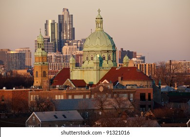 South Side Chicago church and downtown buildings in the background