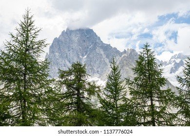 South side of the Mont Blanc massif in summertime seen from the Tour du Mont Blanc trail (TMB) at Col Checrouit