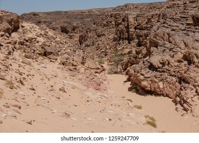 South Sinai, Sinai / Egypt - 25 May 2018:  Sinai desert and pure blue sky shooted in a sunny morning