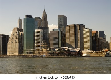 South Street Seaport and the Financial District Skyline, Lower Manhattan, New York City