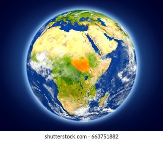 South Sudan highlighted in red on planet Earth. 3D illustration with detailed planet surface. Elements of this image furnished by NASA.