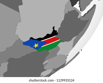 South Sudan on gray political globe with embedded flag. 3D illustration.