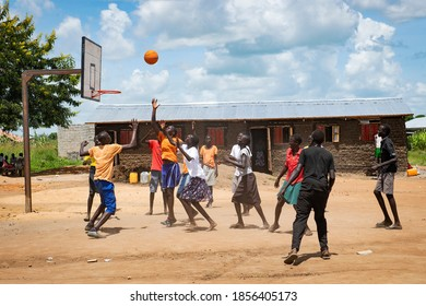 South Sudanese teenagers play basketball in Juba South Sudan on 2017-07-25