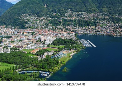 South Switzerland: Airshot from Lido in Locarno where the film festival takes place