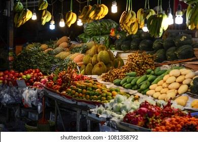 South Thailand, Phuket Town,  night street food market with fruit