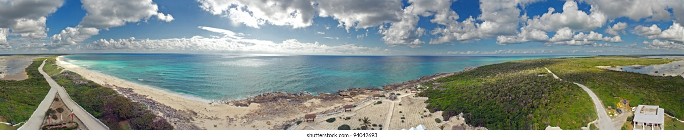 South Tip of Cozumel Island, Mexico 360 Degree as viewed from the top of a Light House.