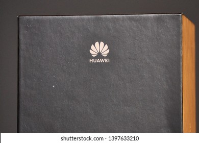 South Tyrol, Italy - May 14 2019: Huawei logo on the black packaging of the Huawei Mate 20 Lite