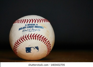 South Tyrol, Italy - May 20 2019: Used Major League Baseball (MLB) Baseball
