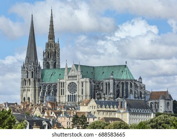 The south view of Cathedral of Our Lady of Chartres, France.