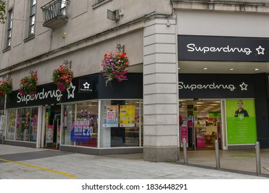 South Wales, UK September 22, 2020 Superdrug retail store in Cardiff City center