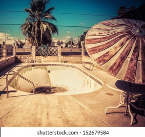 South West American Architectural decay - derelict abandoned swimming pool.