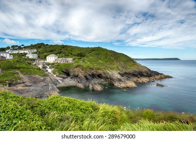 The South West coast Path as it reaches Portloe on the Roseland Peninsula in Cornwall