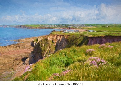 South west coast towards Thurlestone South Devon England UK from the direction of Hope Cove illustration like oil painting