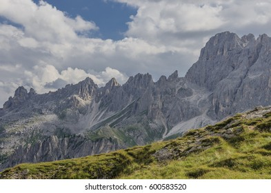 South & west views of  Vajolet valley & Mugoni mountain subgroup respectively from Vajolet & Preuss refuges, Catinaccio mountain massif, Dolomites, Vigo di Fassa village, South Tyrol, Italy